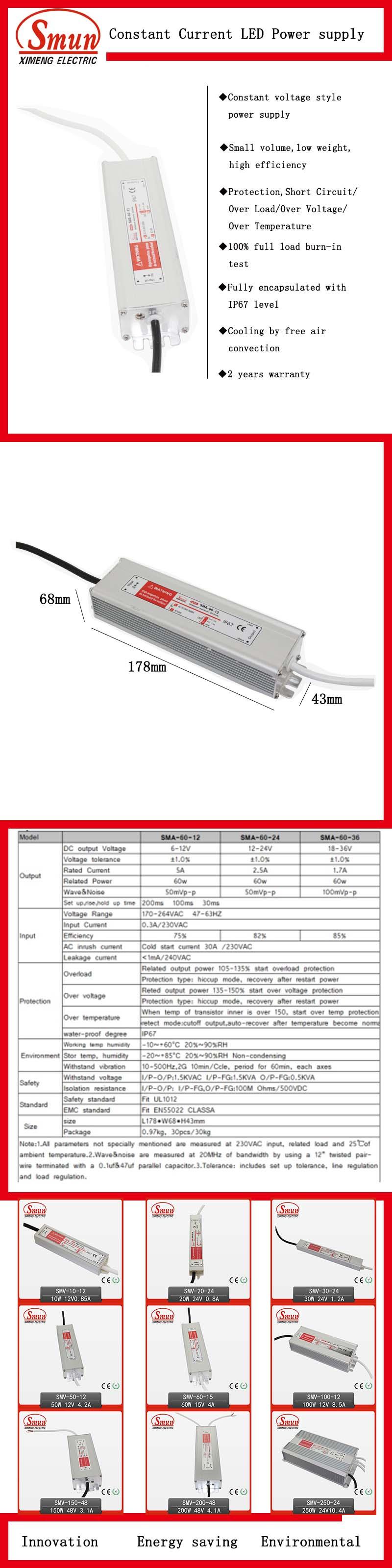 60W 12V/24V/36V Single Output AC/DC Waterproof Constant Current LED Driver