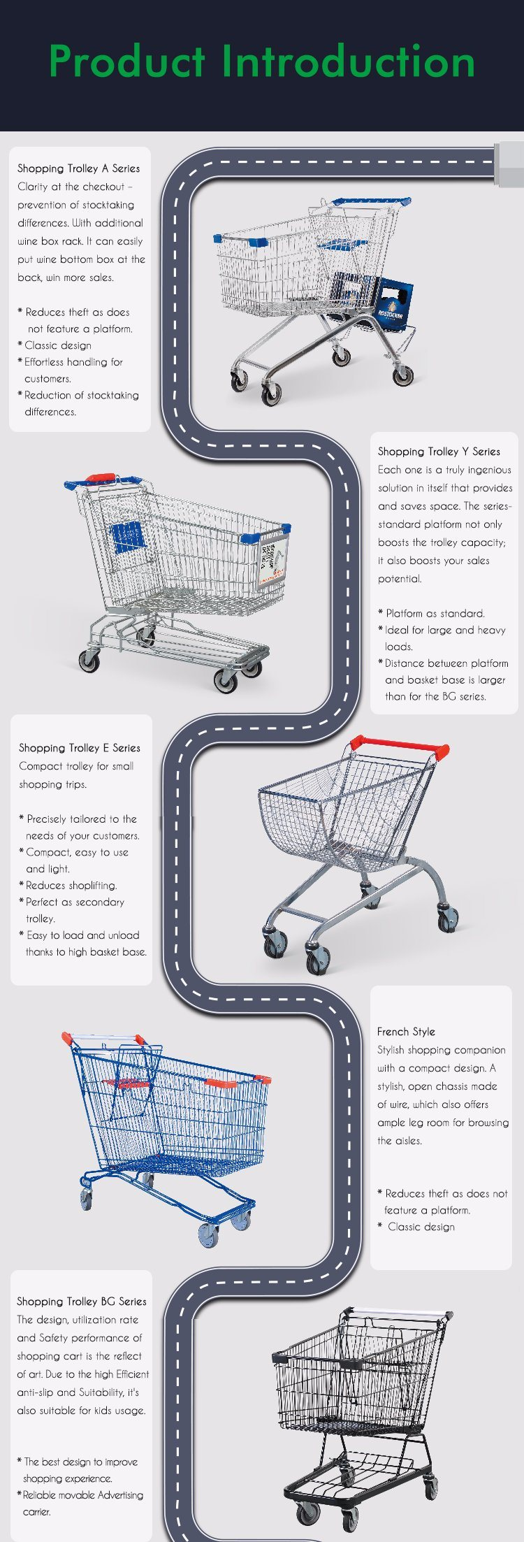 Zinc Plated Metal Shopping Trolley Cart for Supermarket