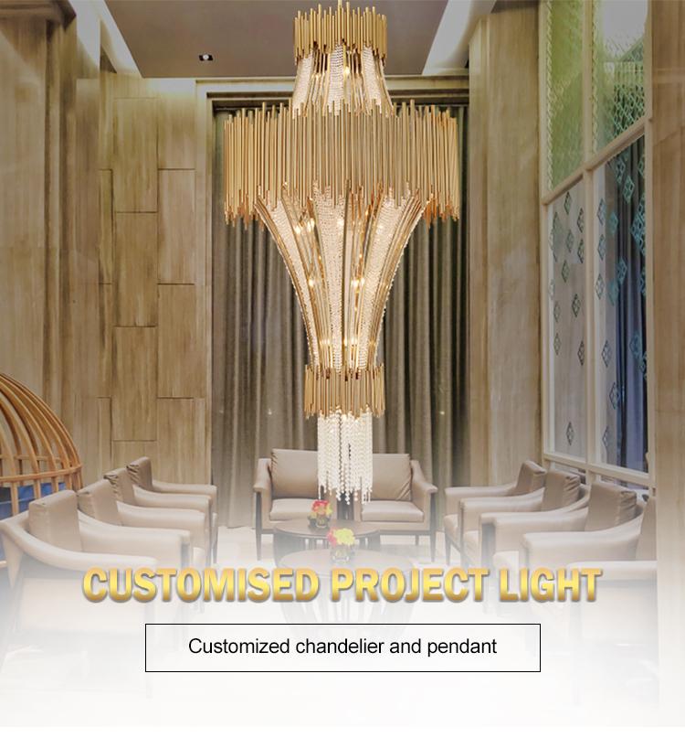 Luxury hotel large lobby modern K9 crystal beads meeting room chandelier light