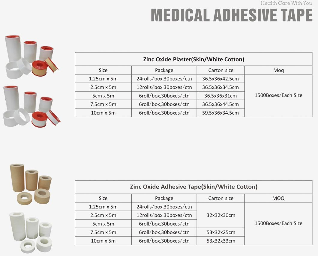 Zinc Oxide Tape Cotton Fabric Plaster for Wound Bandaging Joint Immobilization