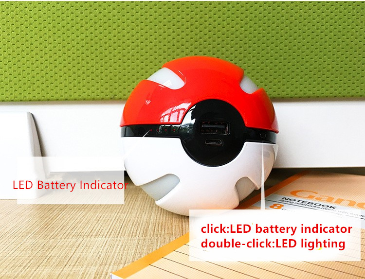 2016 Cute Christmas Gift 1000mAh Pokemon Go Pokeball Power Bank