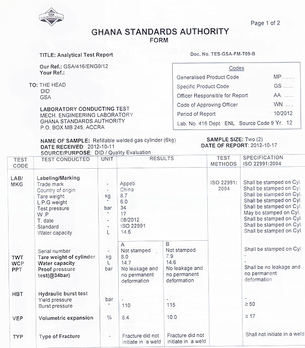 LPG Gas Cylinder&Steel Gas Tank (12.5kga)