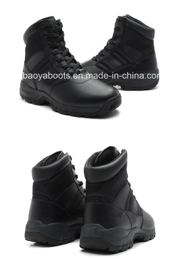 Genuine Leather Black Police Tactical Safety Boots (1866)