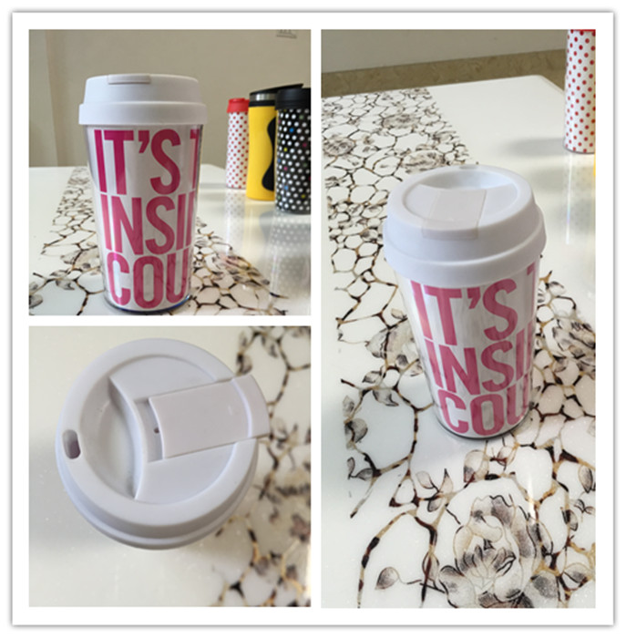 Durable FDA Approval 16oz Plastic Travel Coffee Cups with Full Wrap Logo Printing