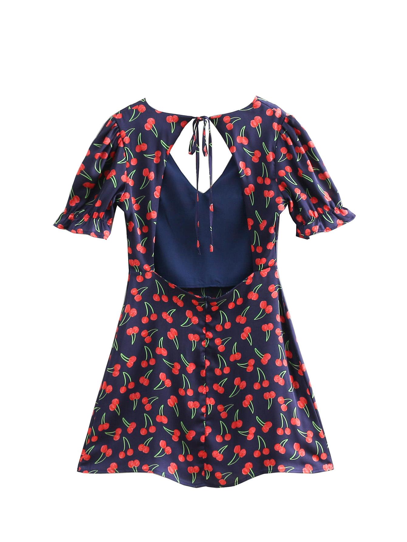 Polyester Woven A-line V-neck Dress