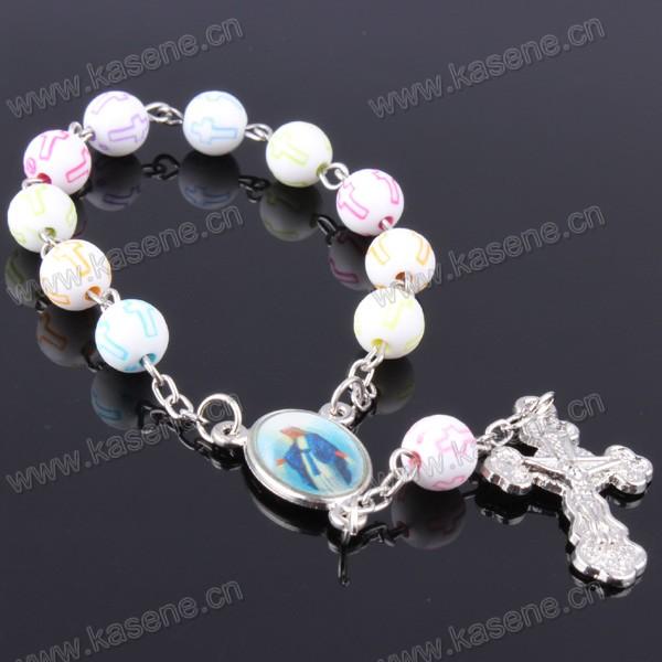 Hot Sale 8mm Ceramics Cross Bead Catholic Rosary Bracelet with Metal Cross