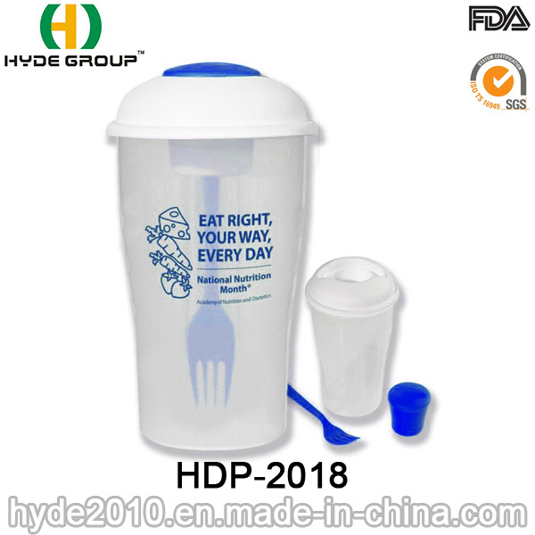 BPA Free Plastic Salad Shaker Cup with Dressing Cup (HDP-2018)