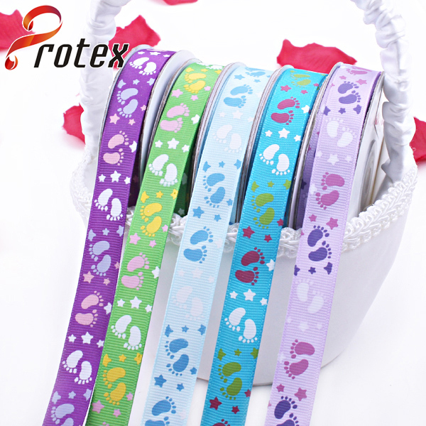 Foot Printed Grosgrain Ribbon