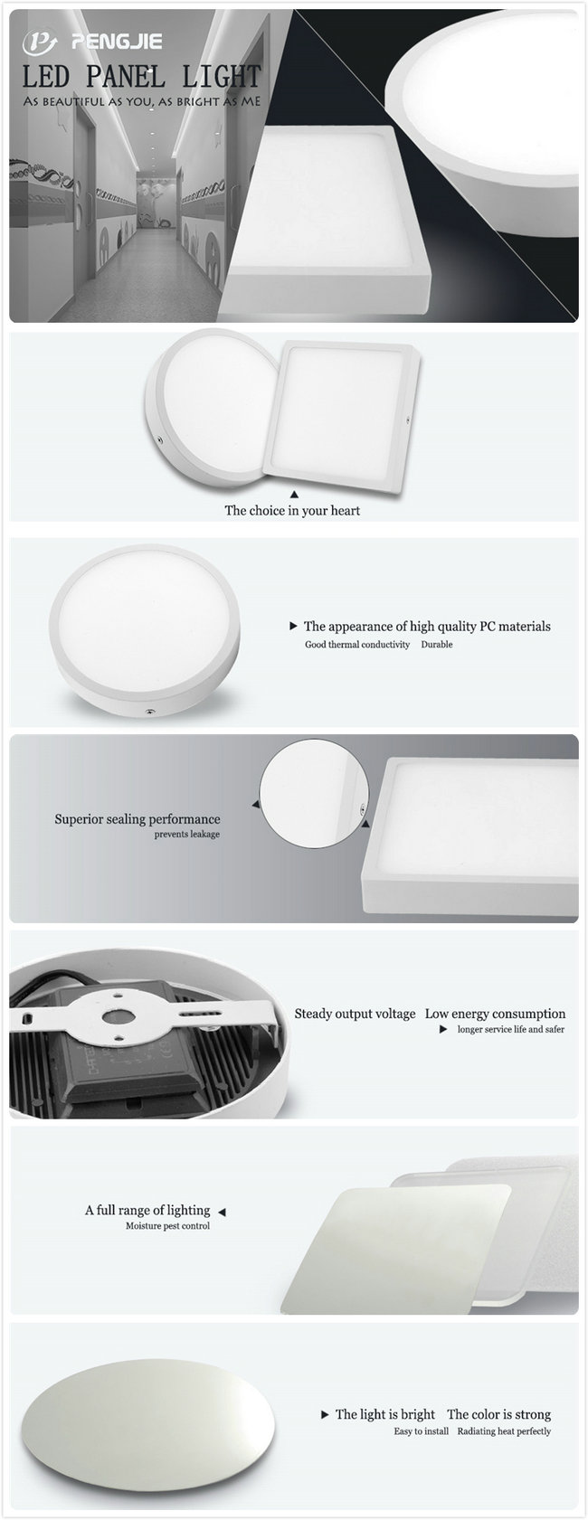 8W Ultra Narrow Edge LED Surface Panel Light for Indoor Lighting