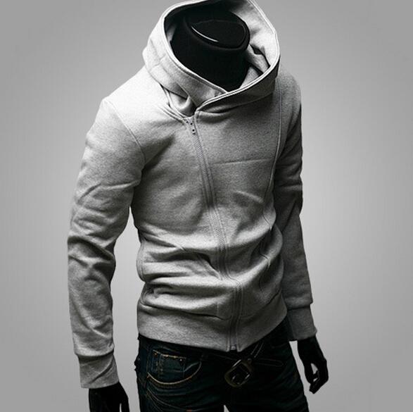 Casual Hooded Inclined Zipper Stand Collar Men's Fleece Coat