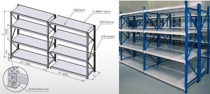 Medium Duty Shelf Boltless Storage Rivet Shelving