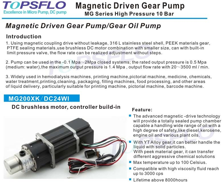 Magnetic Drive Mini Oil Pump (DC brushless motor, outside controller)