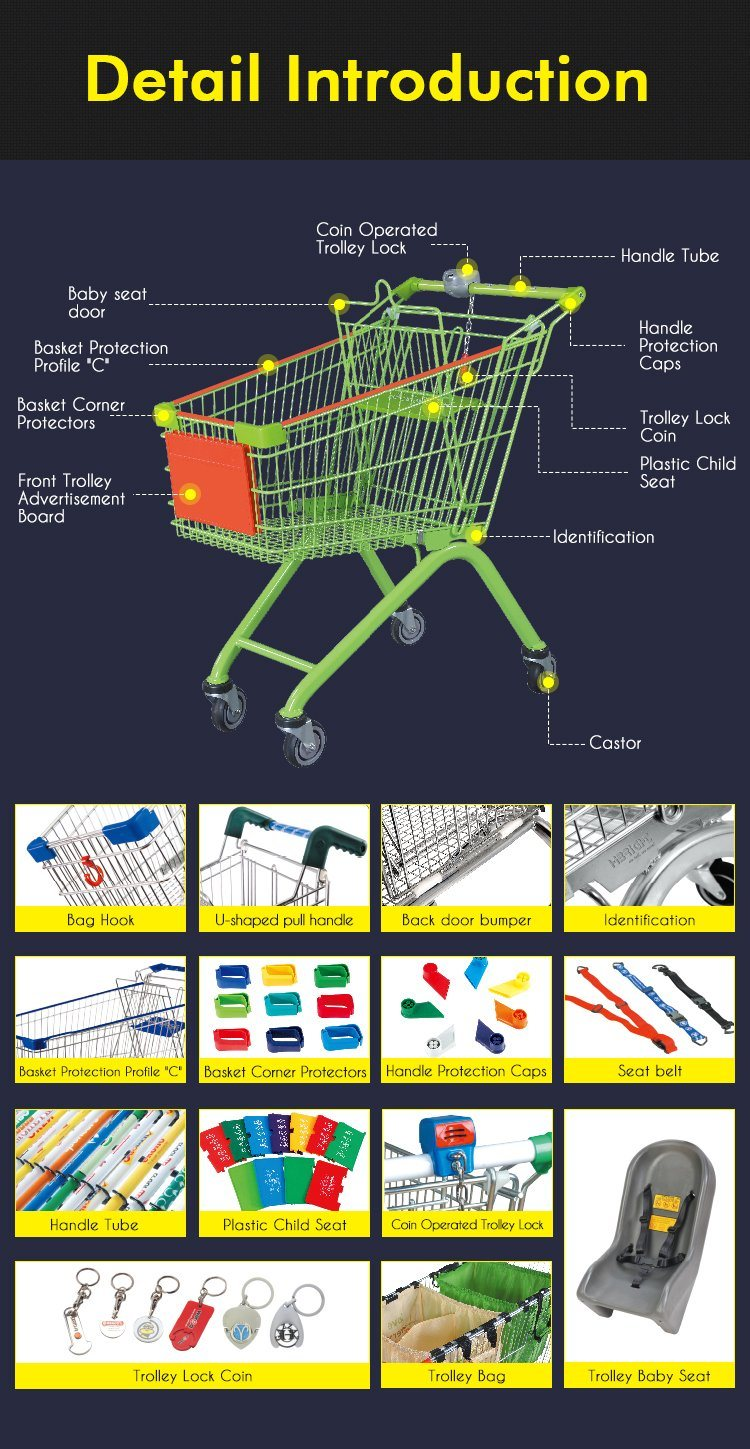 Best Selling Supermarket Shopping Trolley Hand Push Cart