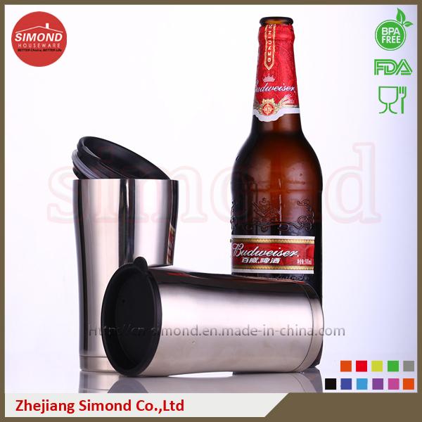 12oz Stainless Steel Vacuum Beer Mug with Plastic Lid