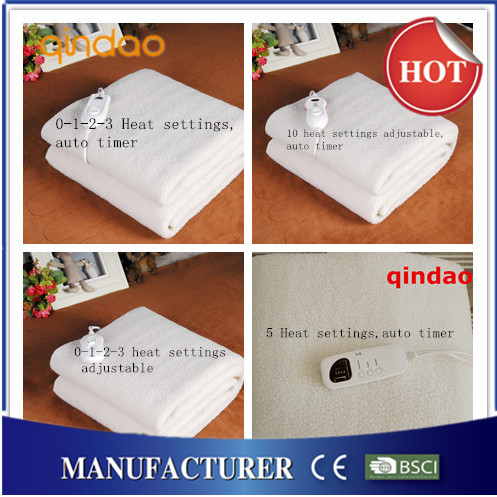 60W 150*80cm Wool Fleece Thermal Heat Blanket with Single Controller