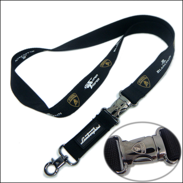 Metal Insert Buckle Custom Silkscreen Sprint Logo Lanyard with Neck Straps