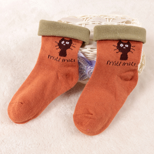 Comfortable Cuff Cartoon Kid Cotton Socks with Turn Cuff