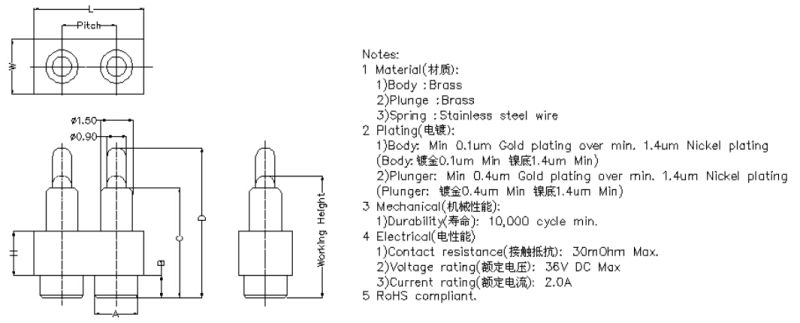 2 Pins Flat Type Pogo Pin Connector