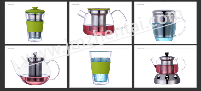 Hot Seling Round Big Colored Plastic Housing Heat Resistant Glass Teapot