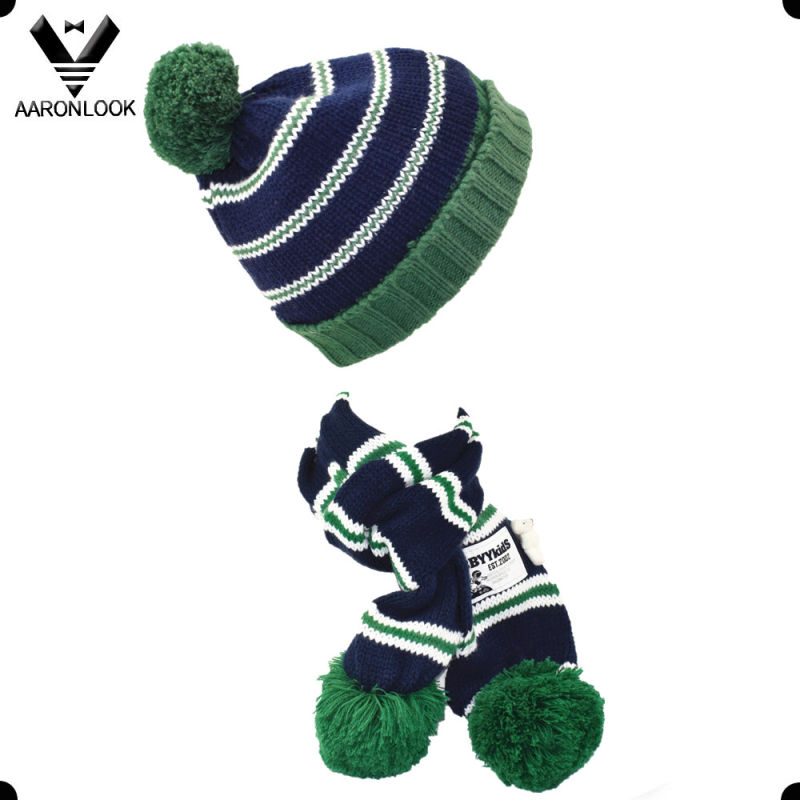 Fashion Cute Knitted Children Beanie and Scarf with Pompom
