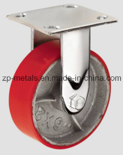 4inch Heavy-Duty Iron PU Fixed Caster Wheel