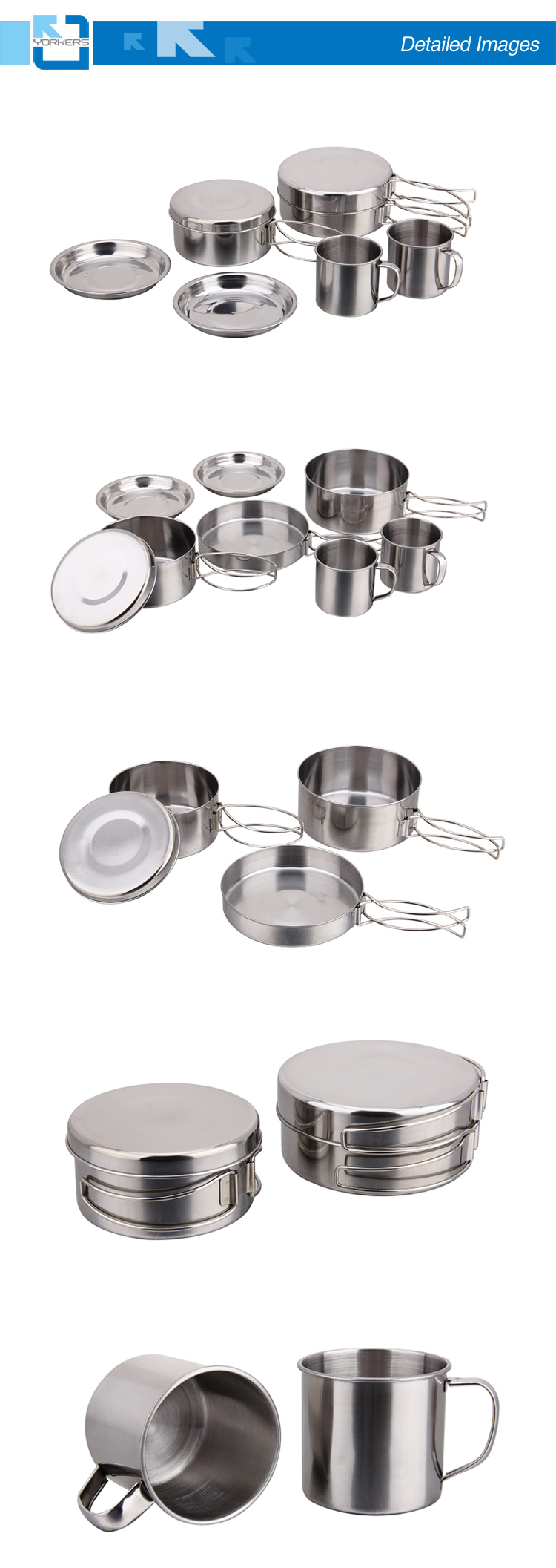 stainless Steel Outdoor Cooking Pot with Bowls for Camping