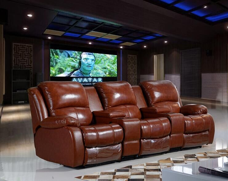 High Quality Brown Leather Recliner Sofa (D1003-1)