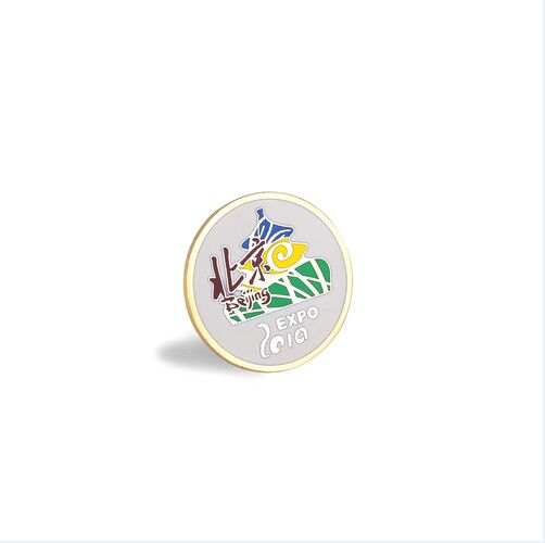 Round Enamel Pin, Organizational Gold Plated Badge (GZHY-LP-046)