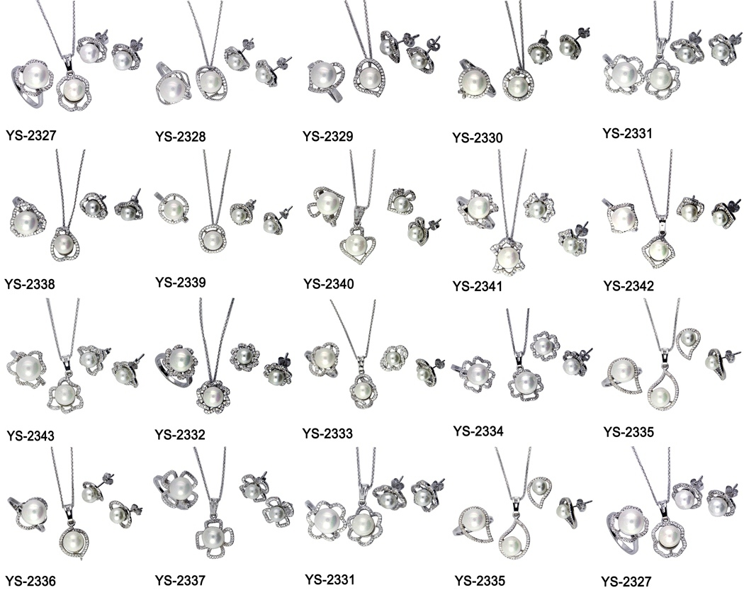 Pearl Jewelry Sets 925 Sterling Silver Pearl Sets with CZ