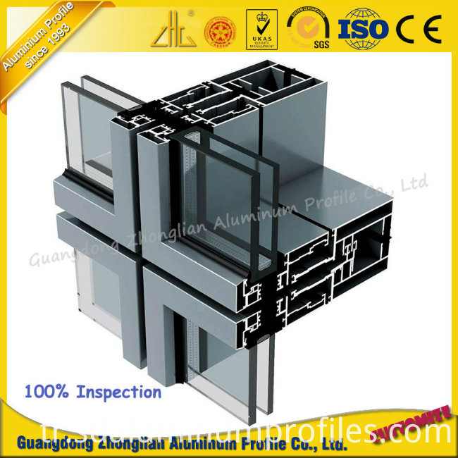 Manufacturer 6063 Aluminum Extrusion Profiles Aluminium Curtain Wall for Decoration