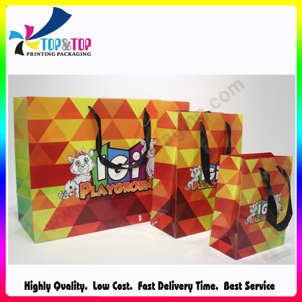 Carry Strap White Paper Glossy Bag with Printing