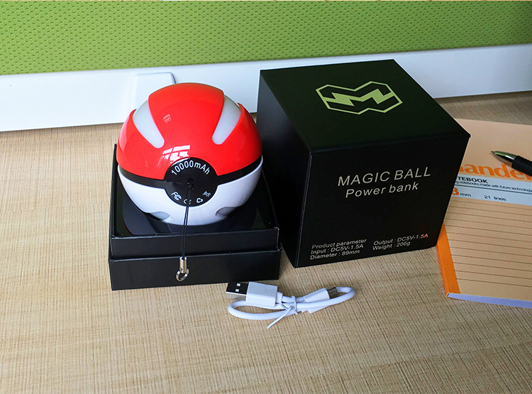 2016 Pokeball Power Bank for Mobile Phone Pokemon Go Power Bank 10000mAh with LED Light