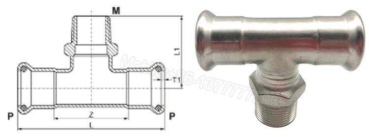 Water Tee Fittings Stainless Steel DIN Pipe Fittings Male Threaded Tee