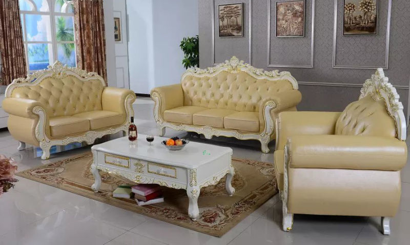 Leather Sofa for Wooden Home Furniture (929U)
