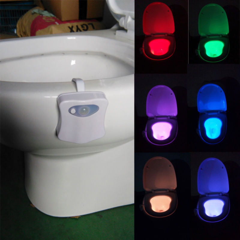 Shine Peak 2016 New Safe Reliable LED Toilet Light Lamp 8 Colours Sensor Lights