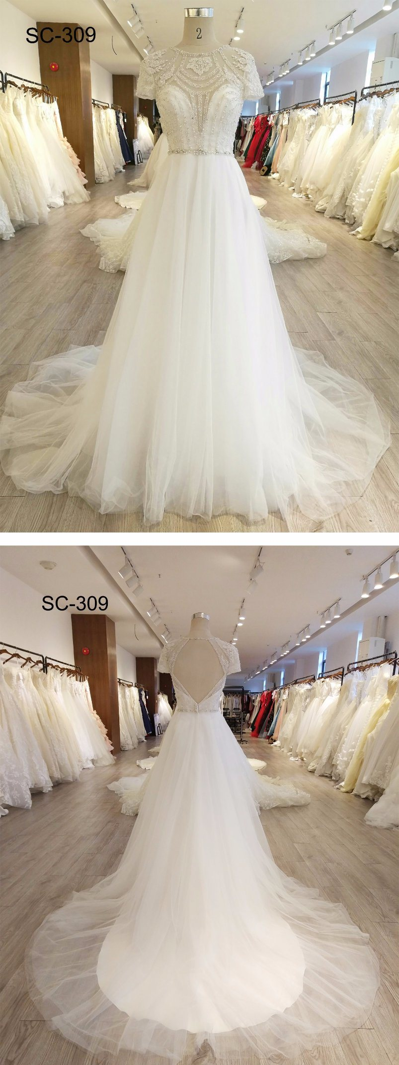 New Arrival Lace Fabric Ivory Women Wedding Dress
