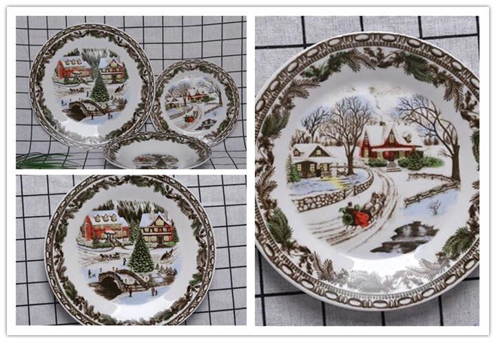 Western Christmas Tree Porcelain Dinnerware Set