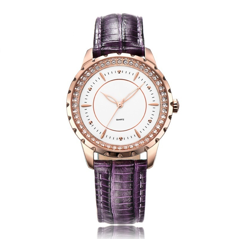 Lilac Color Leather Strap Watch for Women Fashion and Colorful