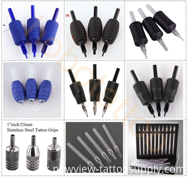 Short Blue Clear Disposable Plastic Tattoo Tips