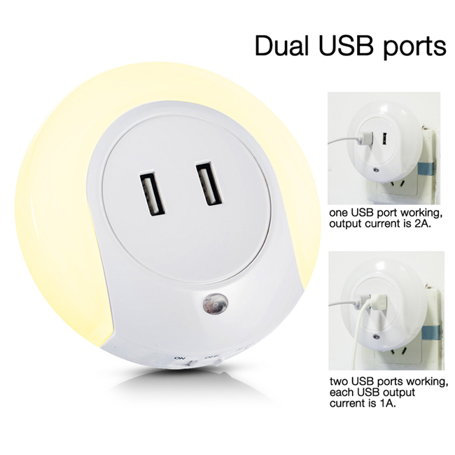 Home Travel USB Wall Charger Adapter with LED Light Perception