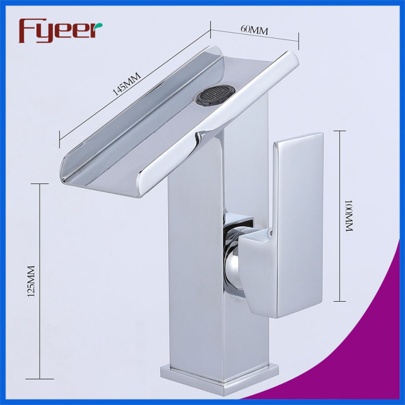 Fyeer Hot Sale Solid Brass Waterfall Basin Mixer Faucet