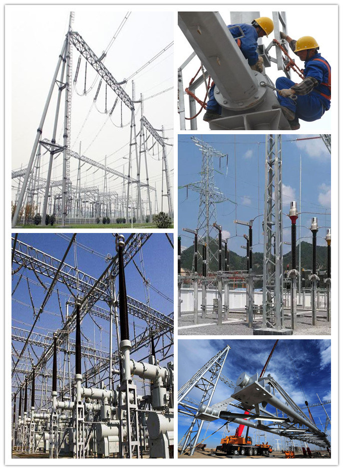 Galvanized Electrical 11kv 33kv Power Steel Substation Operating Pole