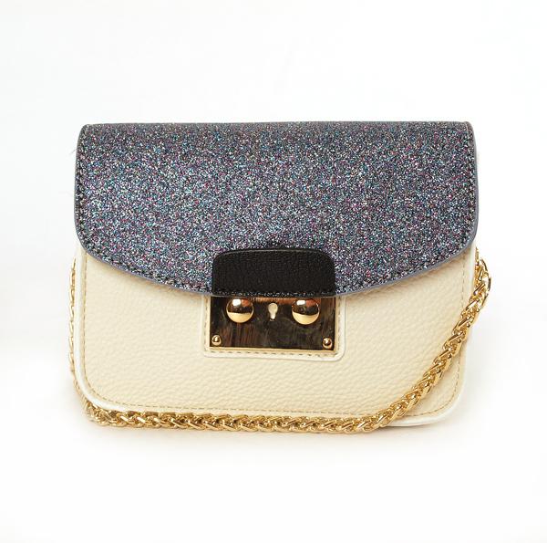 Lady Fashion Designer Glitter Leather Crossbody Handbag with Lock