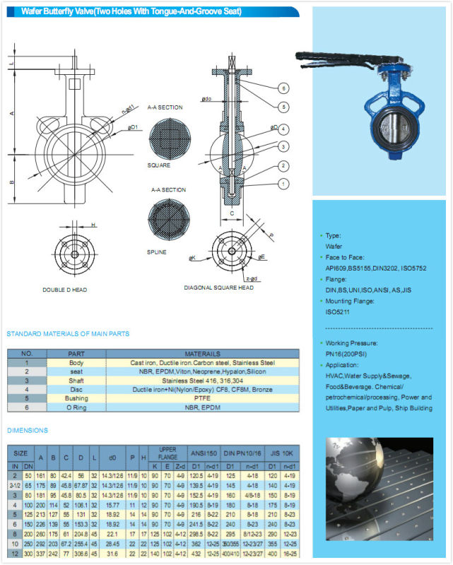 Split Body Wafer Type Butterfly Valve with Hand Lever