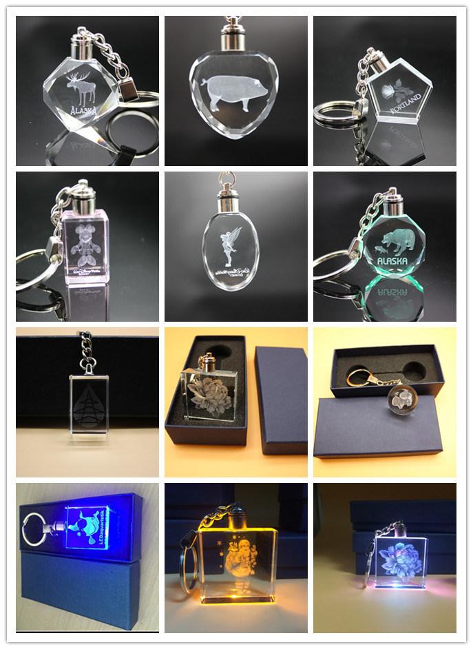 3D Laser Engraving Zodiac Crystal Key Chain