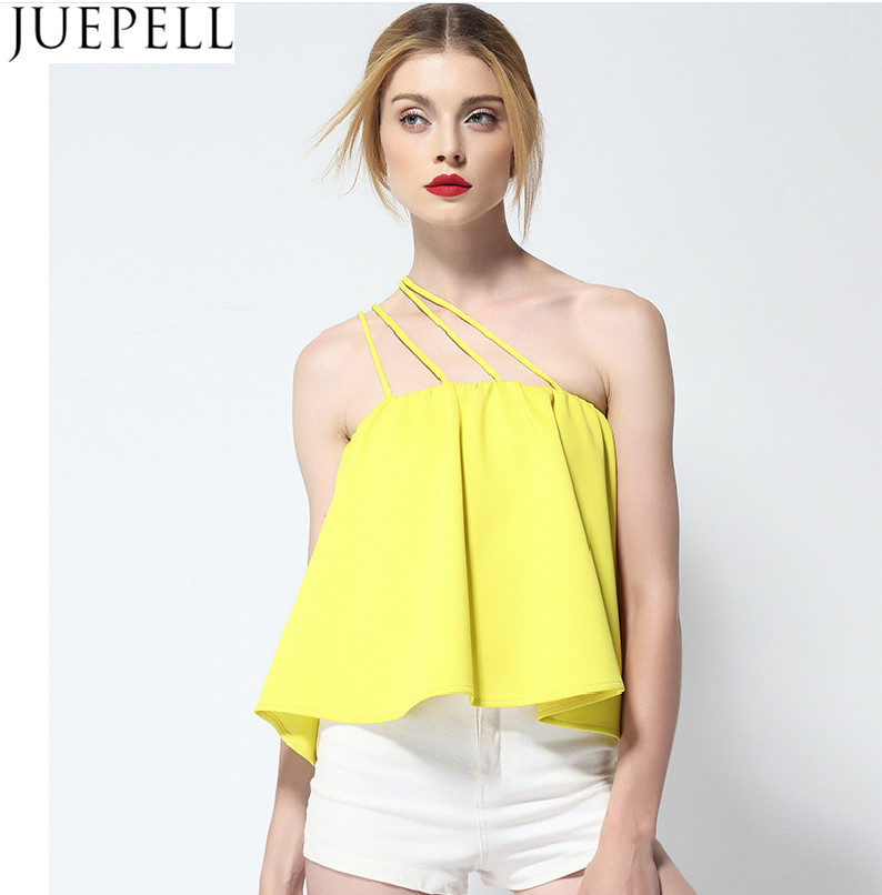 Summer Women Single Shoulder Strap Strapless Solid Color Loose Sleeveless Shirt 2016 New Sexy Tops