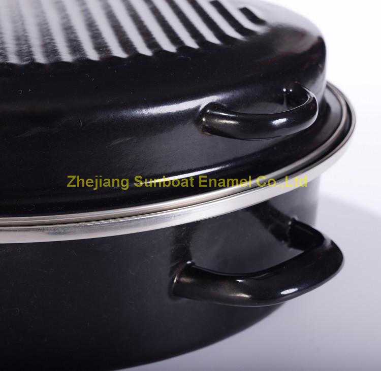 Heavy-Duty Enamel Oval Roaster/Turkey Roaser/Chicken Roaster for Cooking