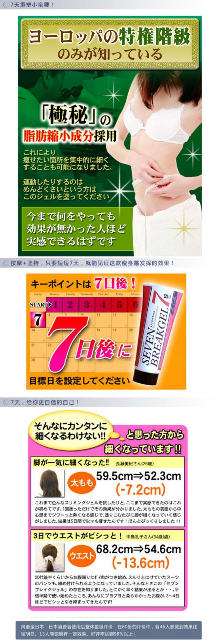 Japan Seven Break Lose Weight 7 Efficient Gel Slimming Cream Full-Body Slimming Gel