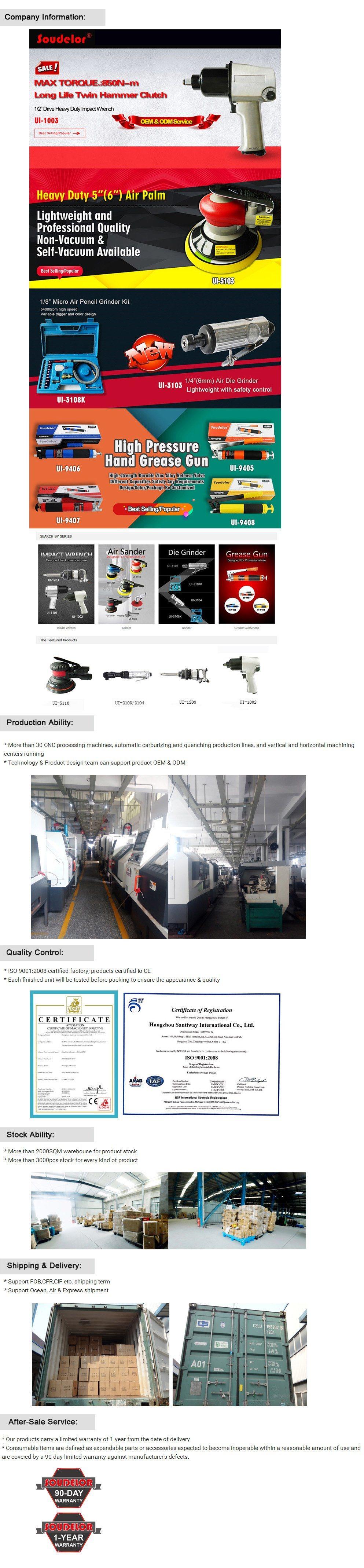 125mm (152mm) Pad Aluminum Auto Body Sanding Air Orbital Sander