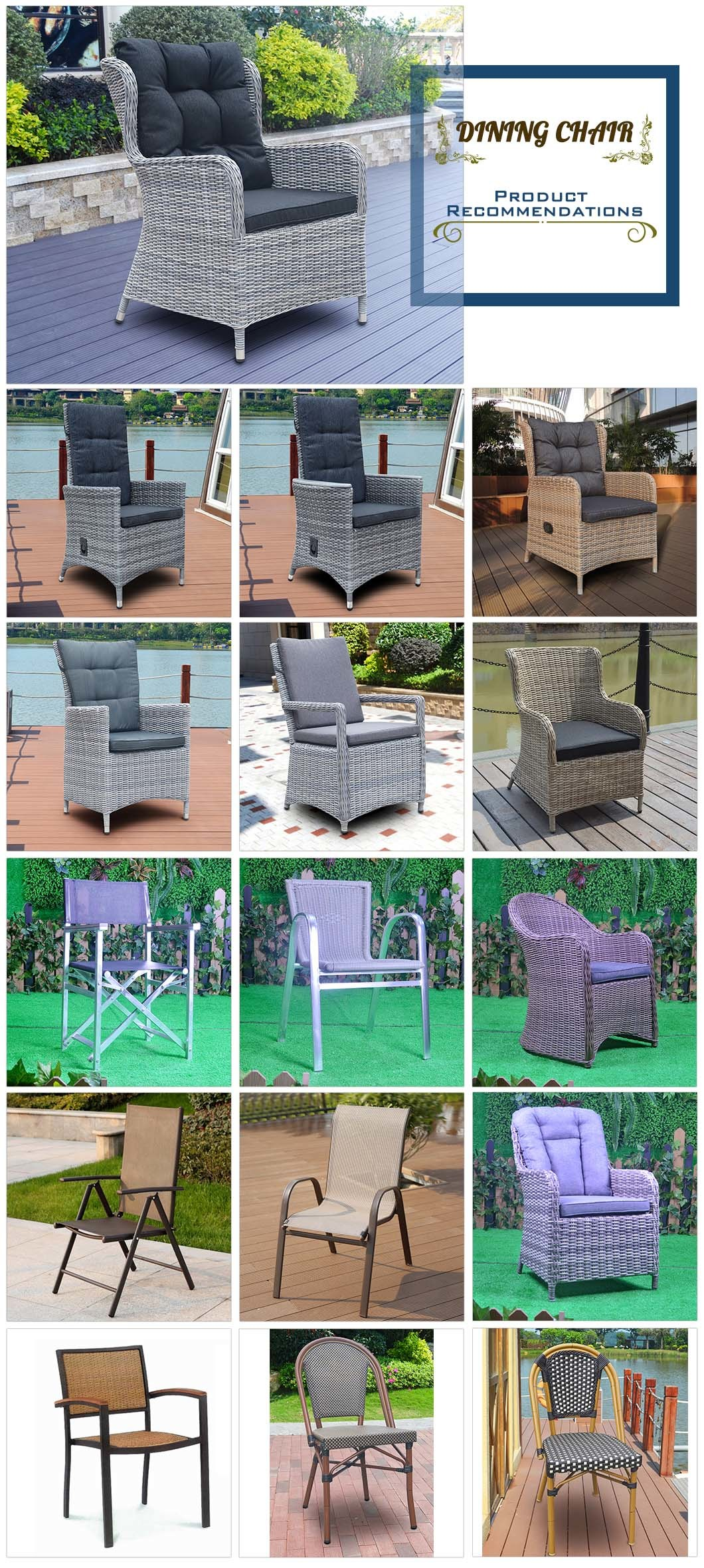 Hot Patio Outdoor Hotel Home Office Modern Garden Wicker Rattan Dining Chair (J5881)